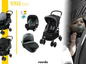 Poussette combinée bébé Texas 3 en 1 de la marque Nania