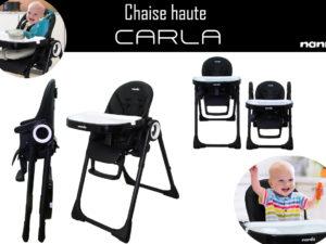 La chaise haute CARLA de Nania – pratique et robuste.